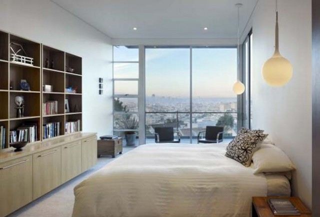 luxury-master-bedroom-with-white-bed-sheets-and-wooden-cabinet-shelving-also-white-globe-pendant-lights-design-ideas